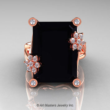 Art Masters Modern 10K Rose Gold 15.0 Ct Black and White Diamond Fantasy Cocktail Ring R292-10KRGDBD