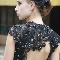 Black Beaded Embellishment Evening Dress