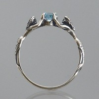 Two Mermaids Ring with Blue Topaz or Other by SheppardHillDesigns