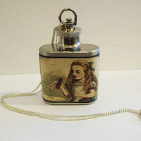 Alice in Wonderland necklace flask retro vintage white rabbit Victorian fairy tale