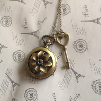 Sunflower antique bronze Pocket Watch necklace with key charm