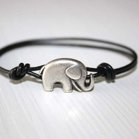 Elephant Leather Bracelet - Antique Silver - Genuine Black Leather Cord - 14 Colors Available