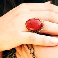 Red Stone Ring Agate Big Cabochon Bead Bohemian Hippie Eclectic Large Bronze Base Statement Jewelry Adjustable