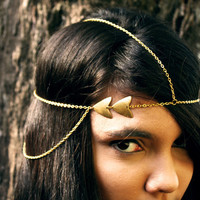 Chain Headpiece Headband Geometrical Gold Triangle Drape Bohemian Hippie Hipster Hair Jewelry