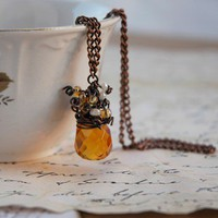 Oxidized Copper Wire Wrapped Citrine Amber Topaz Color Big Crystal Necklace with Little Glass Beads