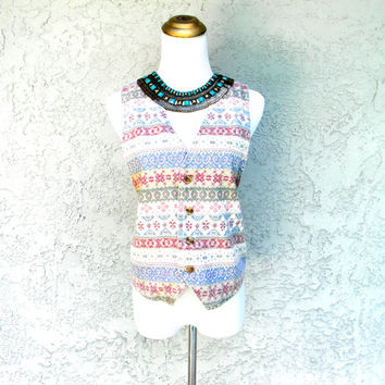 Another Pretty in Pink Vest - Vintage 70s Aztec Print Soft Denim Vest - S Small - All Over Graphic Print - Navajo Tribal Southwestern Design