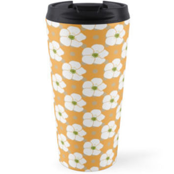 Blooming Flowers, Petals, Dots - Orange White