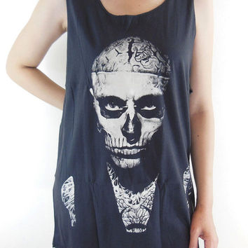 Zombie Boy Shirt Rick Genest -- Skull Tattoo Zombie Boy Shirt Women Tank Top Tunic Zombie T-Shirt Sleeveless Black T-Shirt Size M