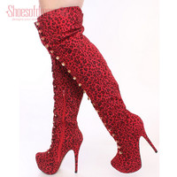 Shoesofdream Women's Embryo Leopard Rivets Zip Closed Toe Winter Over Knee High Boots