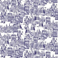 Doctor Who Toile de Jouy | 'Walking Doodle' | Blue Stretched Canvas by Sharon Turner | Society6
