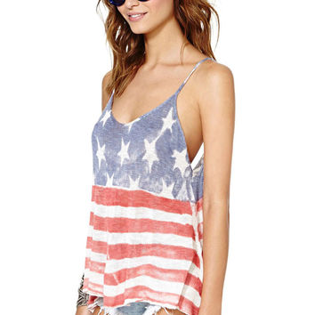 USA Faded Tank Top - Red & Blue /