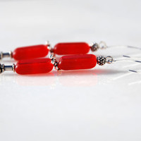 Red Czech Glass Table Window Beads and Bali Silver and Sterling Silver handmade earrings. Red Czech Glass, Bali and Sterling Silver earrings