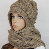 Handmade Knitted Crochet Hooded Sca.. on Luulla