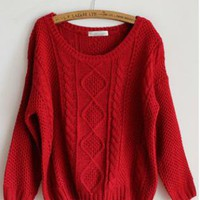 Pretty Round Neck Red Sweater  S001627