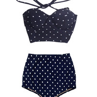 Navy Blue Polka dot dots Tie Back Top and Vintage Retro High waist waisted Shorts Bottom Bikini Swimsuit Swimwear Bathing suit Swim wear S M