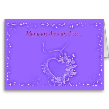 Stars and Flowers Heart Card