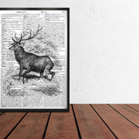 Modern decor Deer poster Stag print Dictionary art TO3