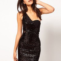 ASOS One Shoulder Mini Dress With Sequins and Lace at asos.com
