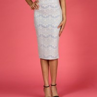 Powder Blue Scallop Lace Midi Skirt