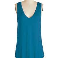 ModCloth Mid-length Sleeveless Endless Possibilities Tunic in Blue