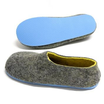 Wool Shoes Charcoal Pastel Blue Soled - Wear without socks