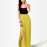 Cute Chartreuse Dress - Maxi Dress - $45.00