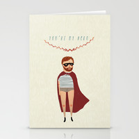 You're my hero Stationery Cards by Chloe Joyce Illustrations