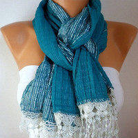 Turquoise  Silvery  Scarf  -   Cowl with Lace Edge