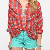 BDG Breezy Plaid Dolman Shirt