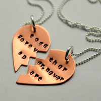 BFF Necklace, Best Friend Necklaces Heart Jewelry, Personalized Valentines Gift, Friendship Quote, Best Friend Necklace, Copper Hearts