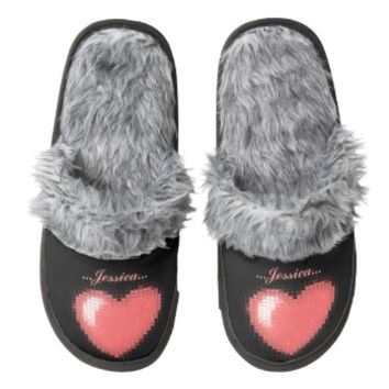 Tiled Mosaic Heart (Pink) Pair Of Fuzzy Slippers