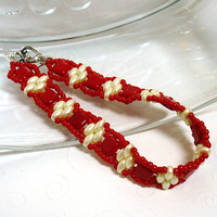 Cherry Red Czech Tile and Creme Superduo Handmade Beadwoven Bracelet