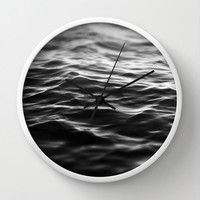 Black Waters - Wall Clock, Ocean Nautical Hanging Clock, Round Circular Beach Decor Home Accent. Available in Black / White / Natural Wood