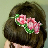Pink Flower Headband by RecycledFabric on Etsy
