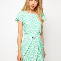 ASOS Mini Tulip Dress With Flute Sleeves In Pastel Print at asos.com