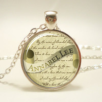 Edgar Allan Poe Necklace, Annabel Lee, Gothic Jewelry, Silver Plate (0381S1IN)
