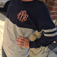 Spirit Shirt Navy/Heather Grey Monogram Personalized  Font Shown MASTER CIRCLE in coral