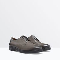 WASHED-EFFECT LEATHER SHOES