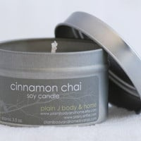 Cinnamon Chai Soy Candle Tin 4oz. - spicy fall soy scented candle