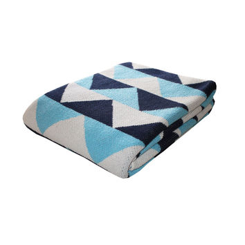 Blue Triangle Throw Blanket