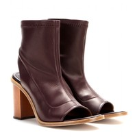 Ella leather open-toe ankle boots