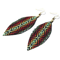 Tribal Rainbow - Feather Earrings