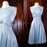 1960s dress / blue satin babydoll dress / XS / vintage prom dress / 60s formal dress / bow rhinestones
