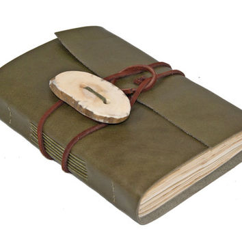 Olive Green Leather Journal with Tea Stained Paper and Antler Closure - Ready to Ship -