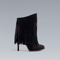 HIGH-HEEL FRINGED ANKLE BOOT