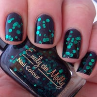 Nail polish - &quot;Black forest&quot; emerald green glitter in a black jelly base