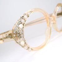 Vintage 60s Peach Cat Eye Glasses Eyeglasses  Sunglasses Frame With Rhinestones and Pearls