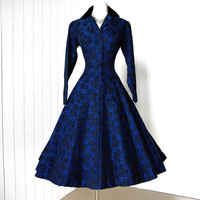vintage 1950&#x27;s dress ...decadent classic LUIS ESTEVEZ rich blue and black damask full circle skirt pin-up princess cocktail party dress