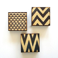 Art Block Trio/3/Three 5x5  Mix and Match FREE SHIPPING choose any 3 geometric pattern chevron zig zag brown black gray red tile studio