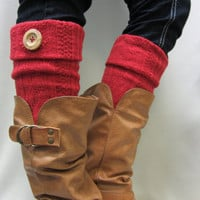 NEW RED Boot topper cable knit with real wood button cuff for boots stocking stuffers secret santa gifts Catherine Cole Studio Made in U S A